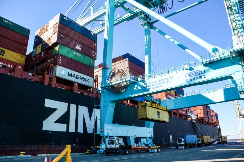 The Jacksonville Port Authority (JAXPORT) recently welcomed the ZIM Integrated Shipping Services Ltd. (ZIM) 10,070-TEU (container) Tianjin vessel on its maiden call to the port's Blount Island Marine Terminal.