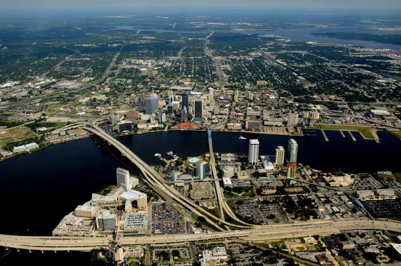 Ariel photo of downtown Jacksonville, JAXPORT's cargo activity through Jacksonville's seaport positively impacts tens of thousands of jobs