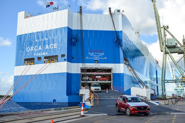 The Jacksonville Port Authority (JAXPORT) welcomed the Mitsui O.S.K. Lines (MOL) next-generation car carrier Orca Ace during the vessel's maiden call to Jacksonville.