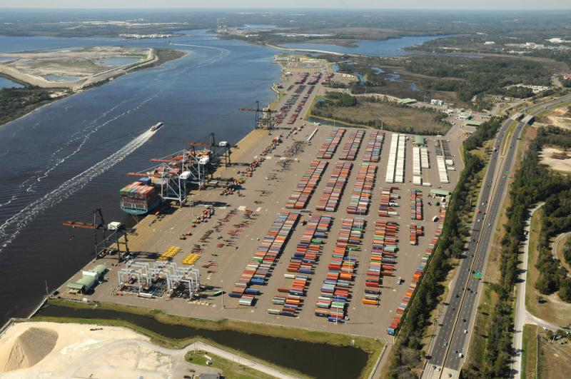 Aerial view of JAXPORT's Dames Point Marine Terminal, JAXPORT pledges to maximize use of public assets to create jobs and opportunity