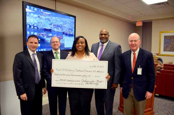 JAXPORT recently presented checks worth more than $34,500 to the United Way of Northeast Florida and Community Health Charities