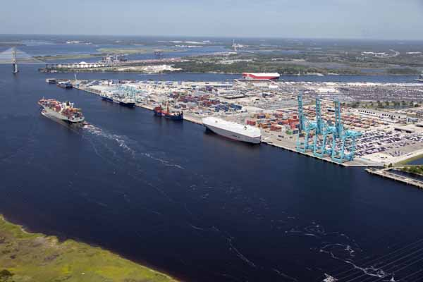 Aerial view of Port of Jacksonville Florida photograph taken May 2018