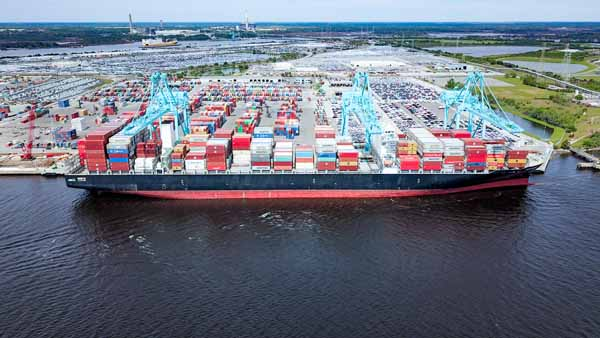 The Jacksonville Port Authority (JAXPORT) set a new port record today with the arrival of the ZIM vessel Cape Sounio, the largest container ship to ever call Jacksonville.
