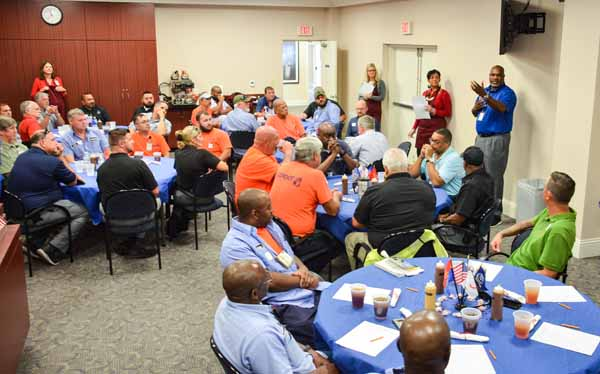 JAXPORT recognized its 46 veteran employees with a special Veterans Day luncheon served by the port's executive team. JAXPORT's senior leadership has served lunch to this group in gratitude for their military service for the past six years.