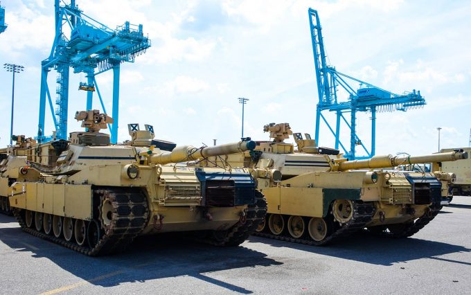 Military tanks on JAXPORT's terminals