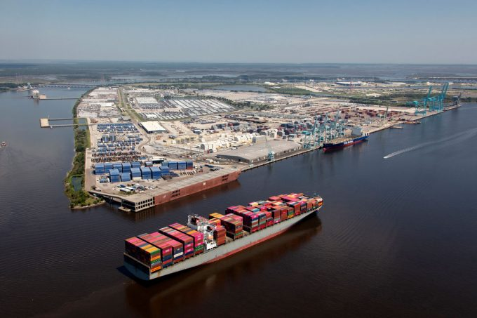 A ship passing by JAXPORT's Blount Island Marine Terminal