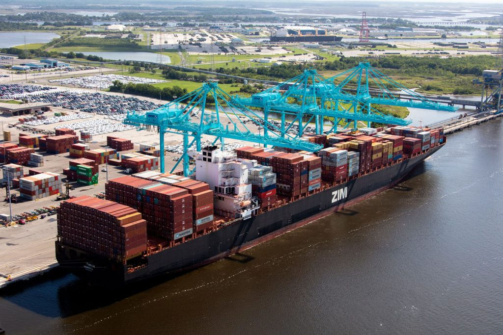 A large container vessel at JAXPORT