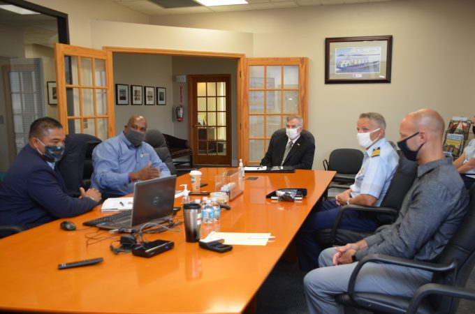 Rear Admiral Brown meets with leadership from JAXPORT and the U.S. Coast Guard Captain of the Port for Sector Jacksonville