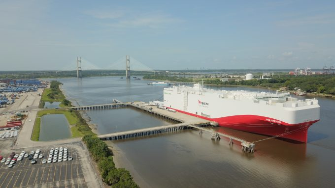 Eco-friendly vehicle carrier docked at JAXPORT