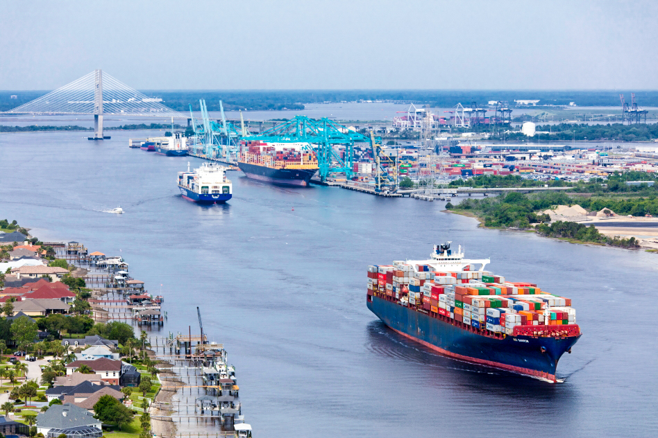 Vessels moving in and out of the Jacksonville Harbor.