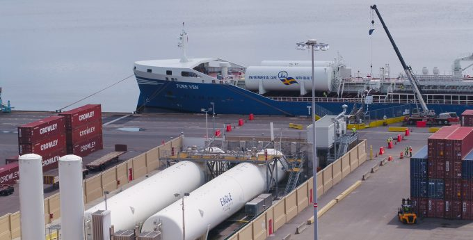 LNG-powered vessel being fueled at JAXPORT