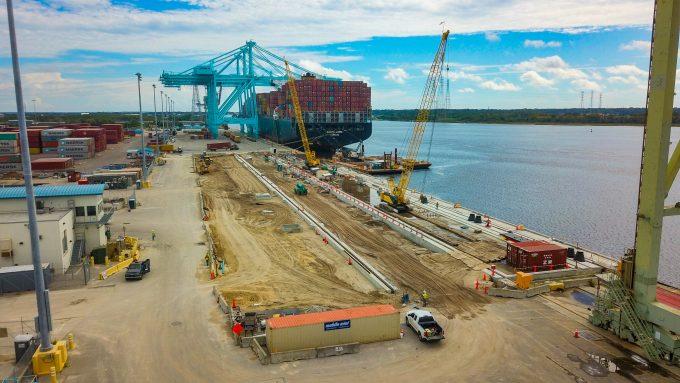 Crews work to rebuild a berth at JAXPORT