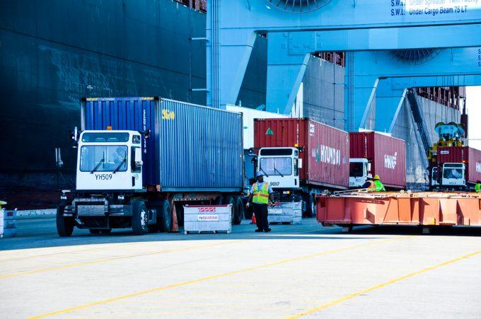 Trucks picking up cargo at JAXPORT