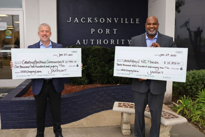 JAXPORT Board Chairman Jamie Shelton (L) and CEO Eric Green