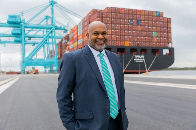 JAXPORT CEO Eric Green in front of a container ship