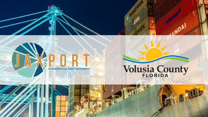 JAXPORT and Volusia County logos over a picture of the port