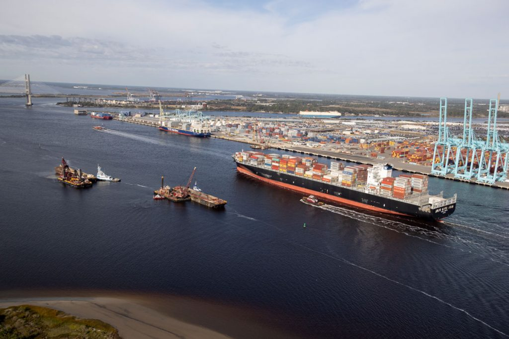 container ship in front of JAXPORT Blount Island Marine Terminal