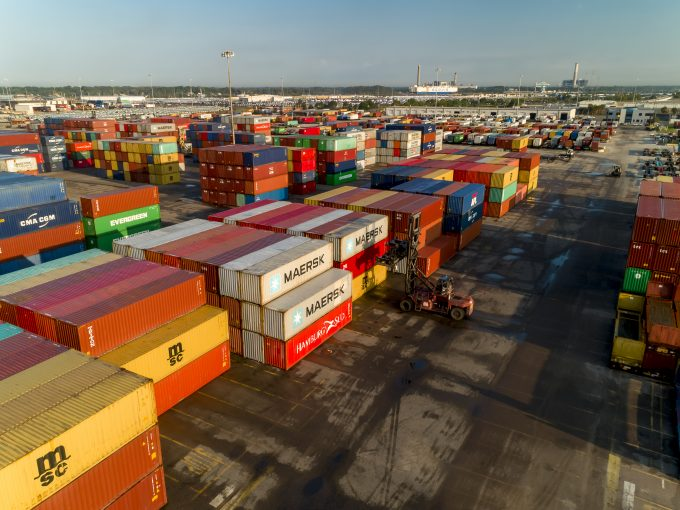 A stack of shipping containers at JAXPORT